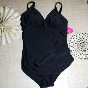 NWT Love My Curves Black Swimsuit size 10